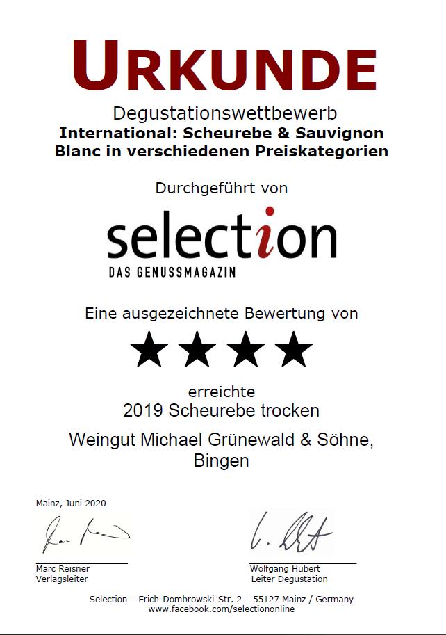 Urkunde Scheurebe beim Degustationswettbewerb-2019-scheurebe