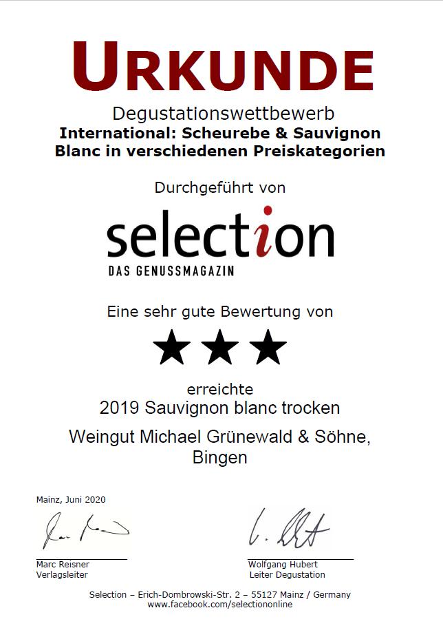 Urkunde Sauvignon blanc beim Urkunde Scheurebe beim Degustationswettbewerb